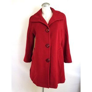 Ellen Tracy Size 6 Red Coat Wool Angora